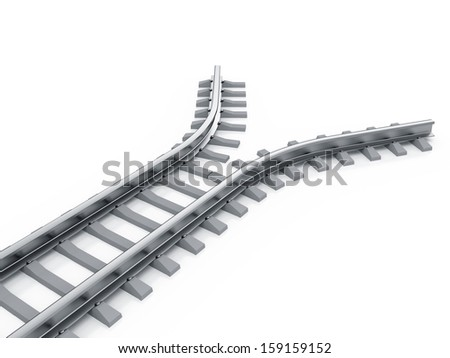 3d render of railway isolated. End of the road concept