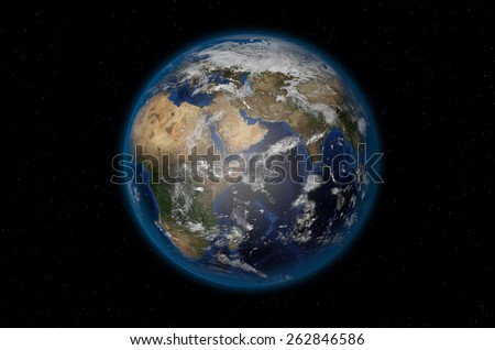 3D render of realistic planet Earth in space with Asia, Europe and Africa in view - Elements of this image are furnished by NASA - stock photo