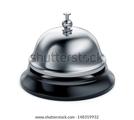 3d render of reception bell isolated on white background