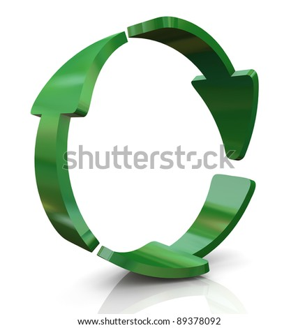 3d render of recycle arrows - stock photo