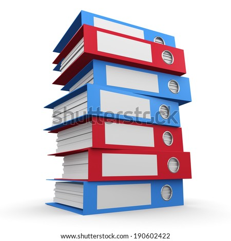 3d render of red and blue document folders