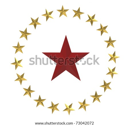 3d render of  red and gold stars on a white background