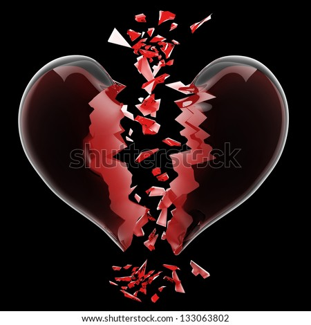 3d render of red broken heart isolated on black background High resolution - stock photo
