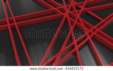 3d render of red chaos mesh isolated on black  background - stock photo