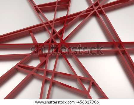 3d render of red chaos mesh isolated on white background - stock photo