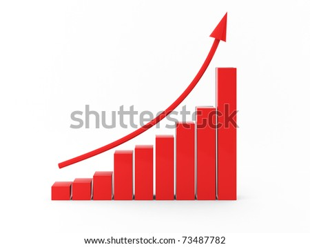 3d render of red chart with arrow