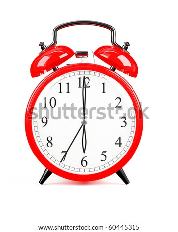 3d render of red clock on white background - stock photo