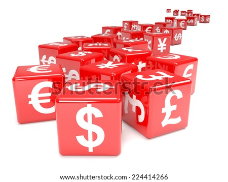 3d render of red dice marked with currency symbols - stock photo