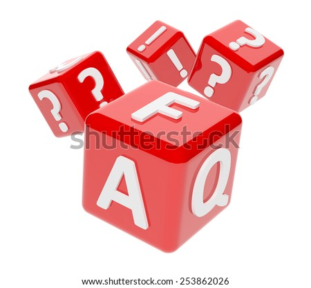 3d render of red dices with word FAQ, exclamation and question marks on white background - stock photo