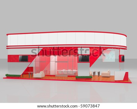 3d render of red exhibition stand - stock photo