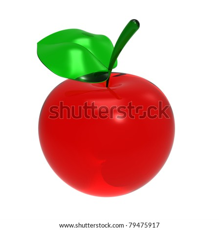 3d render of  red glass apple with a leaflet on a white background