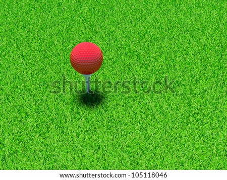 3d render of red golf ball on green lawn
