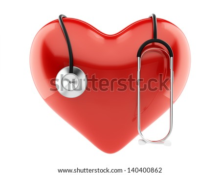 3d render of red heart and stethoscope isolated - stock photo