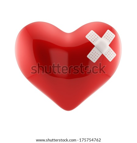 3d render of red heart shape with white cross plaster. Love concept. Isolated on white background - stock photo