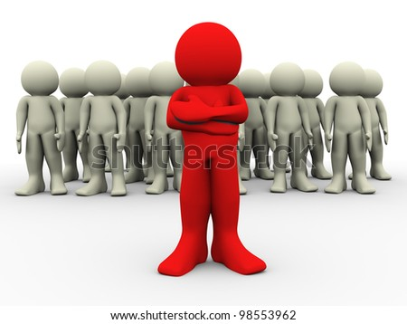 3d render of red man standing out of crowd. 3d illustration of leadership concept - stock photo