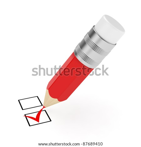 3d render of red pencil with checkmark isolated on white background - stock photo