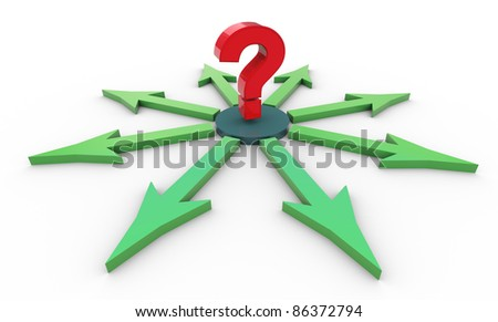 3d render of red reflective question mark in a circle of arrows. - stock photo