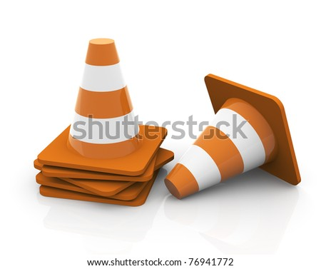 3d render of reflective stacked traffic cones