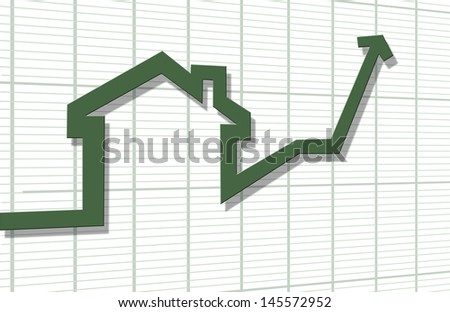 3d render of rising arrow, shaped like a house - stock photo