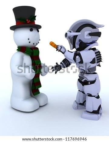 3D render of Robot building a snowman - stock photo