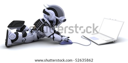 3D render of robot with a laptop and mouse - stock photo