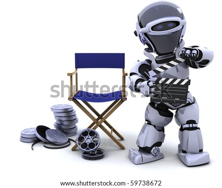 3D render of robot with clapper boards and film reels - stock photo