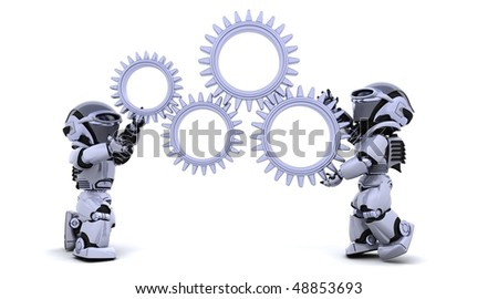 3d Render of robots with gear mechanism - stock photo