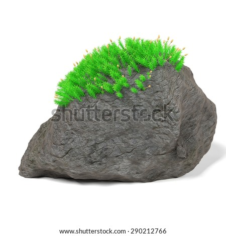 3d render of rock stone with moss - stock photo
