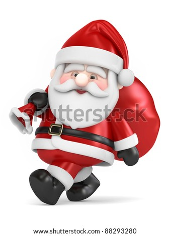 3D Render of Santa Claus carrying bag of gifts - stock photo
