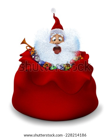 3d render of Santa Claus sits in a bag with gifts - stock photo