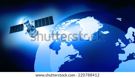 3d render of satellite is orbiting the Earth - stock photo