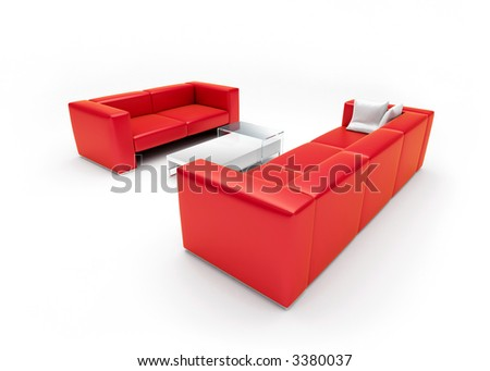 3d render of scene with sofas, pillows and table
