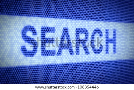 3d render of search concept on blue screen