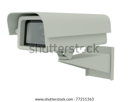 3d render of security camera on white background - stock photo