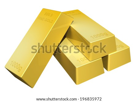3D render of shiny pure gold bars - stock photo