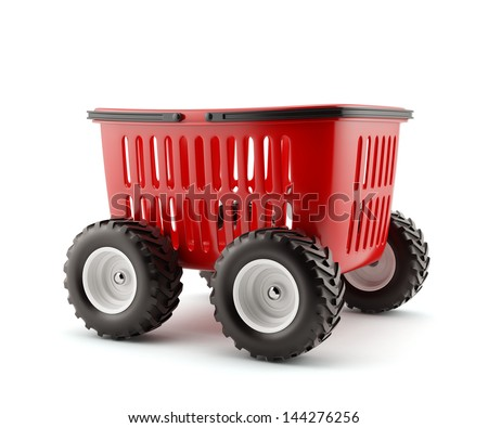 3d render of shopping basket on wheels isolated - stock photo