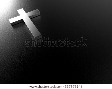 3d render of silver cross on black leather texture background with clipping path , left space for text  - stock photo