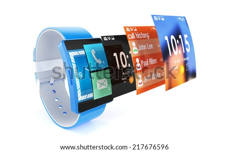 3d render of smart watch isolated on white background  - stock photo