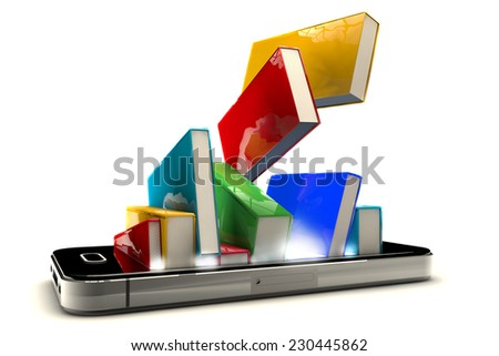 3d render of smartphone with books isolated on white background. E-book library concept  - stock photo