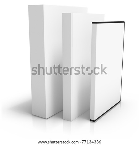 3D render of software box with book and dvd box - stock photo