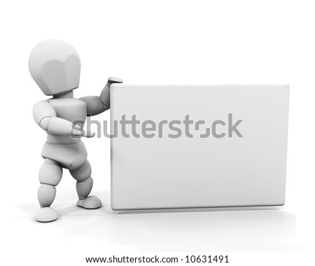 3D render of someone holding a blank sign
