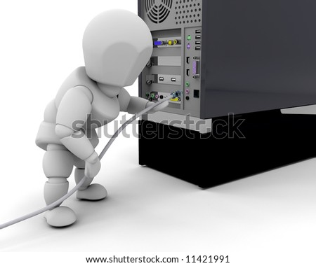 3D render of someone plugging in a cable in a computer