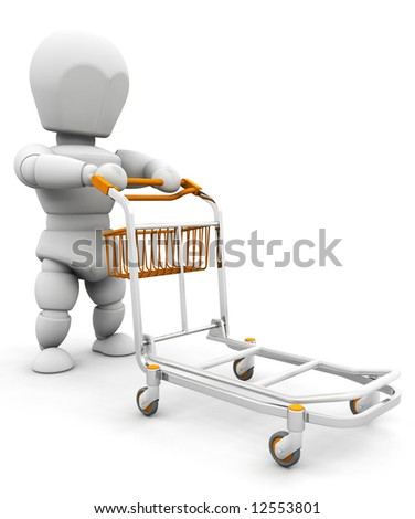 3D render of someone pushing a luggage trolley