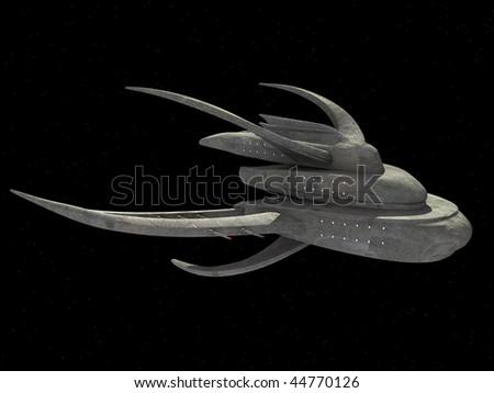 3d render of spaceship with original design - stock photo