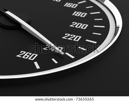 3d render of speedometer with moving arrow and high speed - stock photo