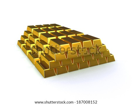 3d render of stacked gold bars