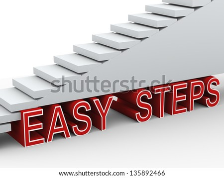 3d render of stairs and phrase easy steps - stock photo