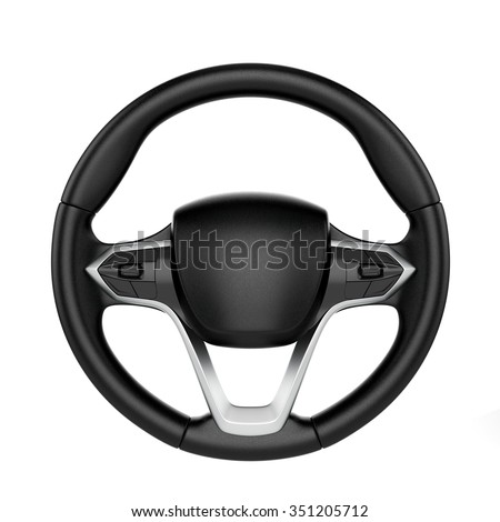 3d render of steering wheel isolated on white background - stock photo