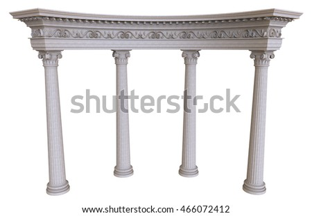 3d render of stone colonnade on a white background