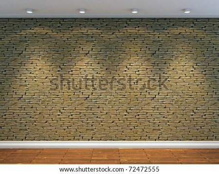 3d render of stone wall with four spot lights - stock photo